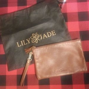 Lily Jade Brandy/Gold Leather Wristlet